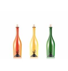 assorted empty wine bottles vector image