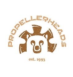 Bear t-shirt Animal head logo with fan blades vector image vector image