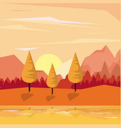 colorful background of valley and mountains sunset vector image