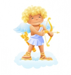 cupid with bow and arrow vector image vector image