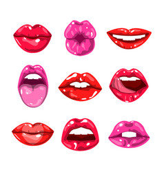 female glossy colored lips that kiss and show vector image