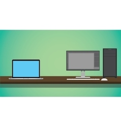 pc vs notebook compare on the desk with green vector image vector image