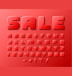 sale font 3d on the red background vector image vector image