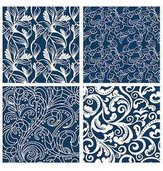 set of floral seamless patterns - vector image vector image