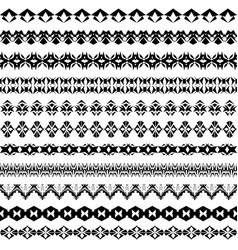 set of geometric black borders in ethnic style vector image vector image