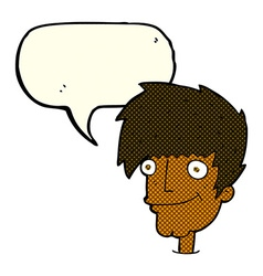 cartoon smiling man with speech bubble vector image vector image