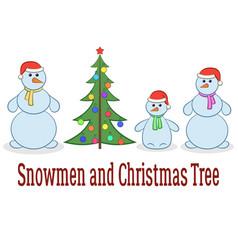 cartoon snowman set vector image vector image