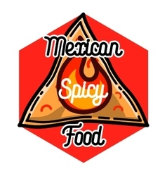 Color vintage mexican food emblem vector image vector image