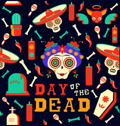 day of the dead happy sugar skull seamless pattern vector image