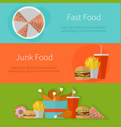 fast food banner design flat icons of junk food vector image