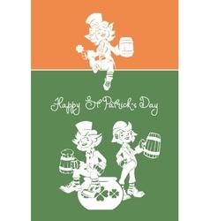 Leprechaun greeting Happy St Patrick Day vector image