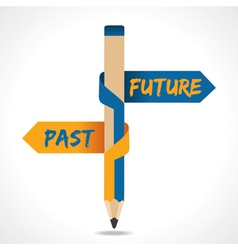 Past and future arrow in opposite of pencil vector
