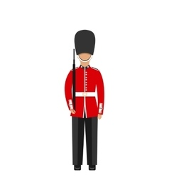 Queens Guard Man in Traditional Uniform with vector image