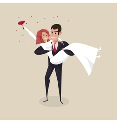 The groom carries the bride with wedding bouquet vector image