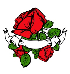 Vintage Red Roses and Old Banner vector image