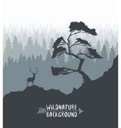 Forest pine tree deer silhouette drawn vector image vector image