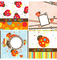 Ladybug Birthday Cards Set vector image