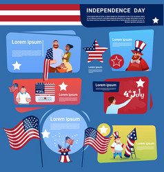 Mix race people celebrate united states vector