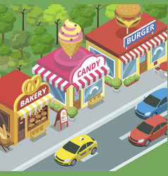 street with food shops vector image