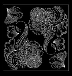 black and white floral bandana print vector image