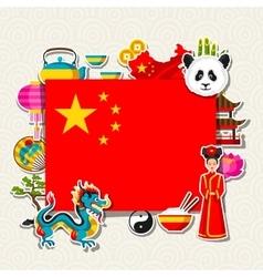 China background design chinese sticker symbols vector