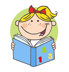 Happy Girl Reading A Book vector image vector image
