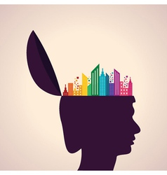 Thinking concept-Human head with colorful building vector image vector image