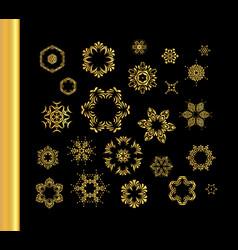 vintage gold round pattern set vector image