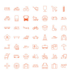49 transportation icons vector image