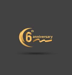 6 years anniversary logotype with double swoosh vector