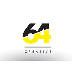 64 black and yellow number logo design vector