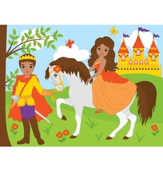 African American Princess with Prince - vector