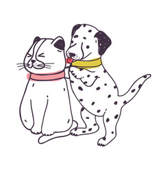 Amusing dog annoying cat playful naughty vector