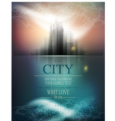 Banner for business with city and reflection vector