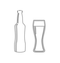 Beer bottle sign black dotted icon on vector