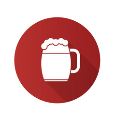 Beer mug flat design long shadow glyph icon vector
