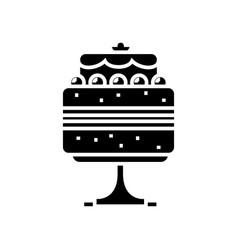 birthday cake black icon concept vector image