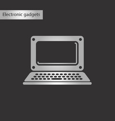 Black and white style icon laptop vector
