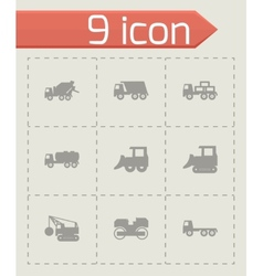 black construction transport icon set vector image