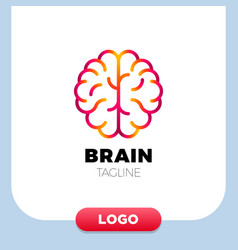 brain logo silhouette design template linear vector image