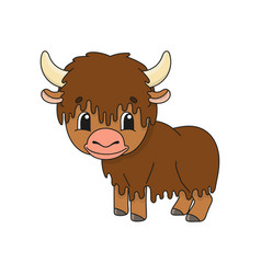 Brown yak cute character colorful cartoon style vector