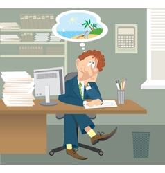 Business man sitting in office vector image