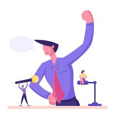 Businessman stand at rostrum and speaking vector