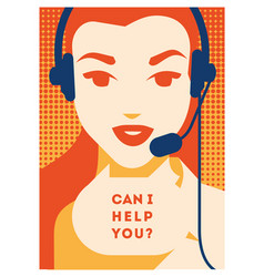 call center operator with headset poster client vector image