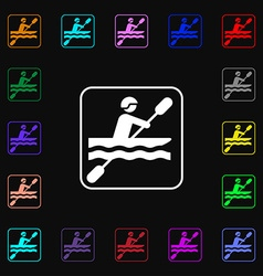 canoeing icon sign Lots of colorful symbols for vector image