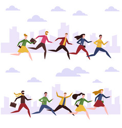 cartoon men and women run work people hurry vector image