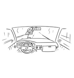 Cartoon of car dashboard and drivers hands vector