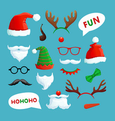 christmas photo booth santa hats mustache beard vector image