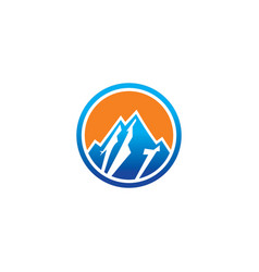 Circle rocky mountain logo vector