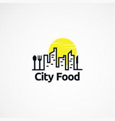 City food logo designs concept with sun icon vector
